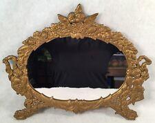 Art Nouveau Cast Iron Oval Ornate Dresser/Wall Mirror Cherubs