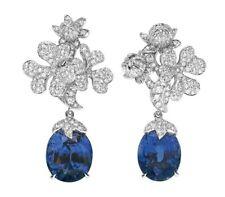 Simulated 925 Sterling Silver Flower Design Sapphire Dangle Earrings Handmade CZ