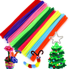 100pcs Chenille Stems Pipe Cleaners Kids Plush Educational Toy DIY Blue Pipe