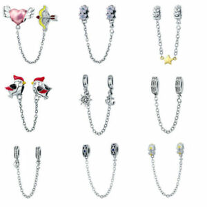 Voroco European 925 Sterling Silver Bead Safety Chain Charm For Bracelet Jewelry