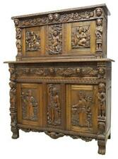 Antique Sideboard, French Figural,Carved Oak Stepback, 18/19th Century, Gorgeous