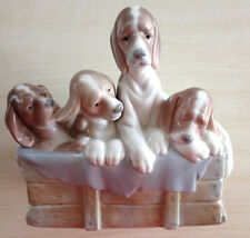 LLADRO 4 Beagle Puppies in a Box - Mint Condition