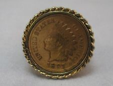 18K HGE GOLD NUGGET STYLE SHANK W/ 1897 INDIAN HEAD PENNY INLAY RING SIZE 9.5 **