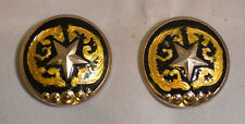 "Conchos - 1.25"" Black Silver Star & Gold Design - Chicago Screw - Set of 2 (C18)"