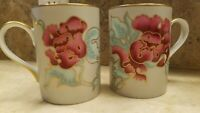 VINTAGE Fitz & Floyd Deauville Peony MUG - set of 2-  fine porcelain Japan