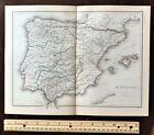 Original 1856 Large Color Map ~ HISPANIA (Spain & Portugal) ~ Detailed Rare