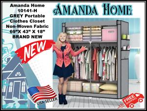 """Amanda Home 10141-H  Grey Portable  Clothes Closet  Non-Woven Fabric  69""""X 43"""" X"""