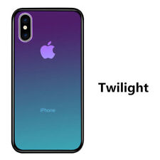 For iPhone Xs Max Xr Gradient Tempered Glass Back Shockproof Hybrid Case Cover