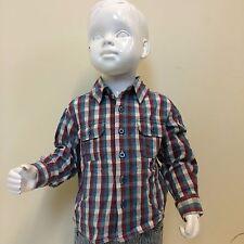 John Lewis Boys Kids Red Blue Check Long Sleeve Smart Flannel Shirt 12-18 Months