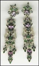 Earrings - One of a kind Amethyst,Seed Pearls, Emerald, excellent condition
