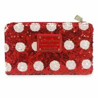 Disney Loungefly Minnie Mouse Polka Dot Red Sequin Wallet Clutch