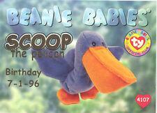 Ty Beanie Babies Bboc Card - Series 1 Birthday (Gold) - Scoop the Pelican - Nm/M