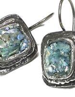 Roman Glass S/Silver Earrings 925 Ancient Patina 200 B.C Israeli Silver Jewelry