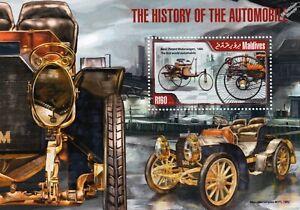 1886 BENZ Patent Motorwagen & Mercedes Simplex Car Stamp Sheet (2013 Maldives)