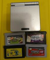 Gameboy Advance SP AGS 001 Gray Bundle 4 Games No Charger