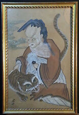 """Vintage Large old, abstract  Chinese watercolor """"Man with tiger"""", signed"""