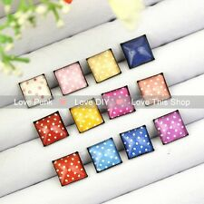 12pairs10mm Fashion Earrings Stud Earrings Glass cabochon Earrings Color spot