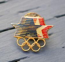 1980 Olympic Rings & Stars Lapel Pin Back Pinback Gold Tone Red White & Blue