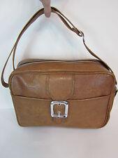 "13"" Brown Pleather Courier Bag w Strap Mail Carrier shoulder briefcase messenger"