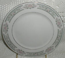 """Lynns Fine China Grace 9-1/2"""" Lunch Plate Grey Gray Pink Flower Silver Trim"""
