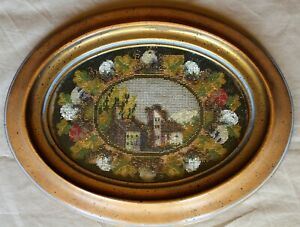Framed Oval Victorian Metallic Beaded and Needlepoint Village Scene c. 1890