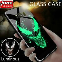 Marvel Venom Deadpool Batman Iron Man Panther Luminous Glass Case For Samsung !!
