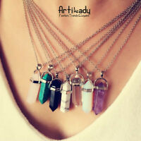 New Natural Stone Hexagonal Prism Beads Pendant Healing Pointed Silver Necklace