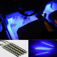 4pcs Car Blue 9 LED Charge Car Interior Accessories Foot Decorative Lights Lamps