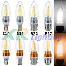 B15 B12 E14 E27 2W 4W 6W Edison Filament COB LED Chandelier Candle Light Bulb