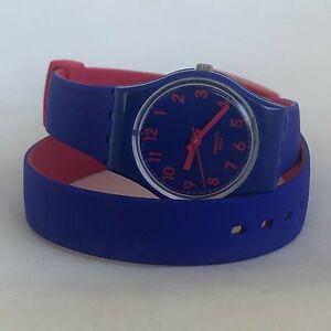 Swatch Biko Bloo Blue-Pink Double Wrap Ladies Watch LS115 Quartz Analog Casual