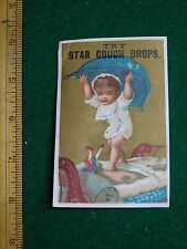 1870s-80s Star Cough Drops Kenyon Potter & Co Girl Holding Pillow Trade Card F33