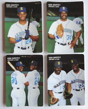 KEN GRIFFEY JR.~ 1991 MOTHER'S COOKIES FATHER & SON COMPLETE 4- CARD SET NICE!!