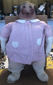 """Antique Early Primitive Cloth Folk Art Rag Doll Drawn Oil Painted Face 17"""""""