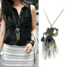 Fashion Lady Women Vintage Retro Peacock Pendant Sweater Long Chain Necklace FT