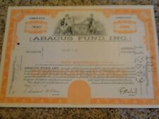 Abacus Fund, Inc. Stock Certificate-100 Shares