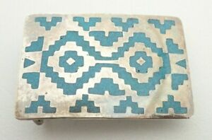 Vintage Navajo Turquoise Chip Inlay Sterling Silver Belt Buckle