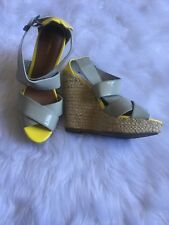 Xhilaration Tan & Yellow Espadrille Wedge Heel Sandals Shoes 7