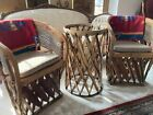 EQUIPALE SOUTHWEST MEXICAN LEATHER-PIGSKIN, CEDAR STRIP GLASS TOP TABLE 2 CHAIRS