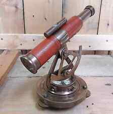 ALIDADE LEVEL TELESCOPE LEATHER GRIP BRASS WITH COMPASS MARINE GIFT
