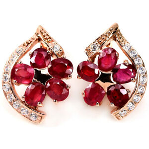 GENUINE AAA BLOOD RED RUBY OVAL & WHITE CZ STERLING 925 SILVER FLOWER EARRING