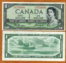 Canada, $1, 1954, P-66b, QEII, VF > Devil's Face