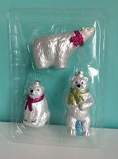 Lot of 3 Polar Bear hand crafted  glass Christmas ornaments set white blue