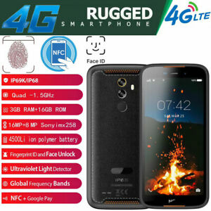 "Unlocked 5.5"" 4G LTE Rugged Android 9.0 Smartphone NFC Fingerprint Face ID OTG"
