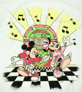 Vintage 80s Mickey Mouse Swing Dancing T-Shirt Sz S/M Mickey Mouse Grunge