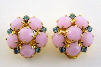 Vintage Soft Pink and Blue Faceted Rhinestone Cluster Flower Clip on Earrings