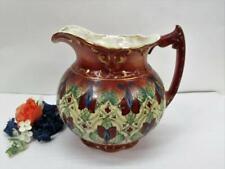 Haynes Balt Antique Pitcher Porcelain Vase Gilded Burgandy Blues & Greens