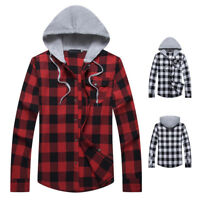 Fashion Men's Casual Plaid Check Hoodie Cotton Flannel Long Sleeve Shirt Tops