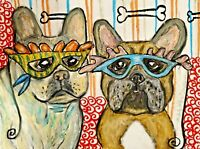 French Bulldog Collectible Dog Art Print 13x19 Signed by Artist Mardi Gras Dogs