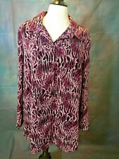"Blair Purple & Black LEOPARD CAT Print Long Sleeved Blouse Shirt Top LG 46"" Bust"