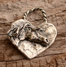 Horse on Heart Sterling Silver Pendant or Big Charm
